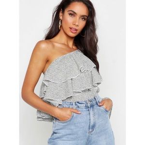 One Shoulder Ruffle Ditsy Spot Blouse